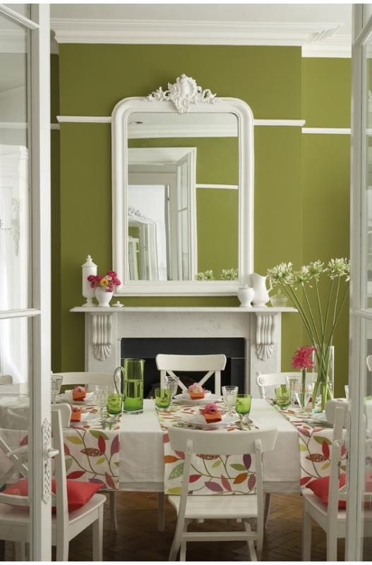 Dining room painted in Citine and Slaked Lime by Littlegreene.com