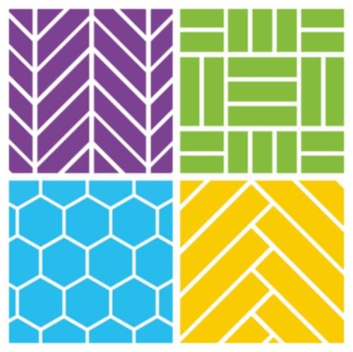 Triangle Tile Effect Cushioned Vinyl Flooring Sheet Prism Blue