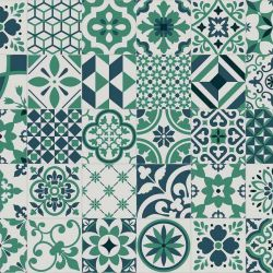 Green and Blue tile effect sheet vinyl flooring with felt backing in azulejos design