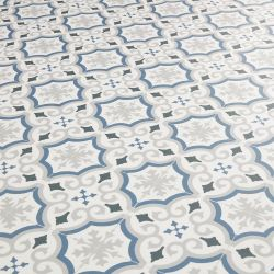 Blue and Grey patterned tile effect sheet vinyl flooring lino adriana