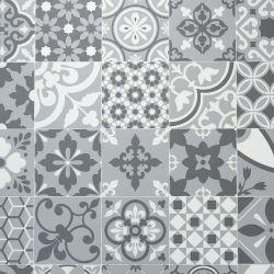 Portuguese Metallic Azulejos Tile Design Vinyl Flooring Sheet Alcantara