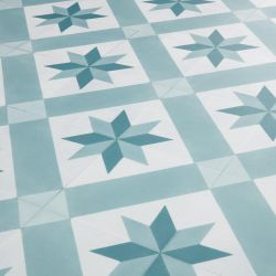 Mint Green And White Vintage Tile Effect Sheet Vinyl Flooring Lino With Felt Backing