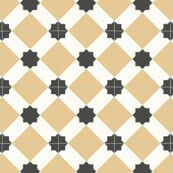 yellow and white victorian tile effect vinyl flooring with cushioned backing