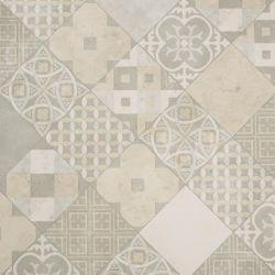 Patchwork Tile Effect Sheet Vinyl Flooring Avorio