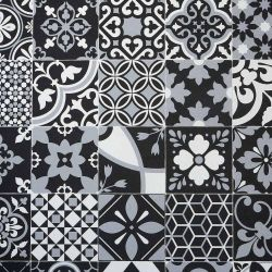 Portuguese Metallic Azulejos Tile Design Vinyl Flooring Sheet Benfica