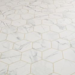 Hexagon Tile Design Sheet Vinyl In White Marble With Gold Printed Groutlines