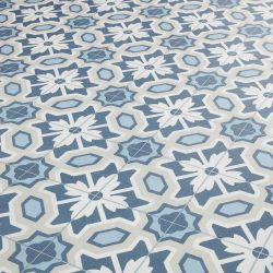 Blue And Grey Floral Tile Effect Vinyl Flooring Sheet For Kitchens And Bathrooms