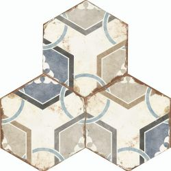 Dalia Aged Porcelain Tiles In Blue, White And Brown Hexagon Style For Kitchens And Bathrooms
