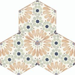 Porcelain Hexagon Tiles In Pink And Blue Antique Design For Kitchens And Bathrooms Hanna