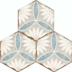 Margarita Antique Tile Design Porcelain Flooring In Grey And Blue Floral Effect For Walls And Floors