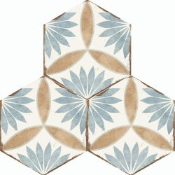 Blue And Terracotta Hexagon Tile For Walls And Floors In Floral Design For Indoor And Outdoor Use Miranda