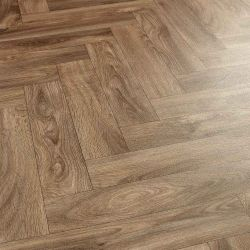 Bramhall Parquet 4Mm Thick Dark Oak Parquet Design Vinyl Flooring Sheet With Felt Backing