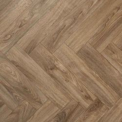 Herrigbone Design Vinyl Flooring Sheet In Dark Oak Tones For Dining Room And Bathroom Floors
