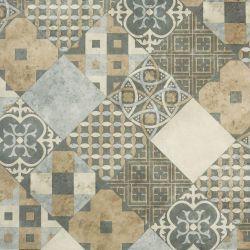 Patchwork Tile Effect Sheet Vinyl Flooring Cemento