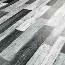 silver, grey and black wood effect vinyl flooring or kitchens and bathrooms in metallic design