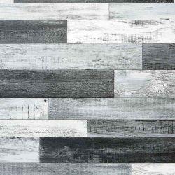 Metallic Wood Effect Cushioned Vinyl Flooring Sheet Chromed Oak