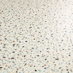Italian Terrazzo Design Vinyl Flooring Sheet In Brown, Blue And White With A Smooth Surface Finish
