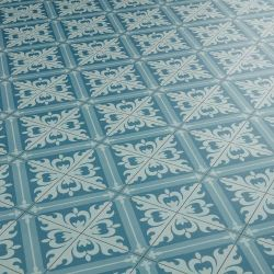 Blue retro patterned sheet vinyl flooring