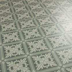 Green Tile Effect Patterned Vinyl Flooring Sheet Lino Design For Kitchens And Bathrooms