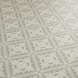 Constantine Grey Moroccan Tile Effect Cushioned Vinyl Flooring