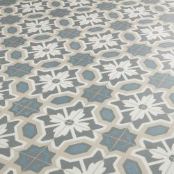 Country Cottage Cornflower Floral Tile Design Vinyl Flooring In Green And Brown