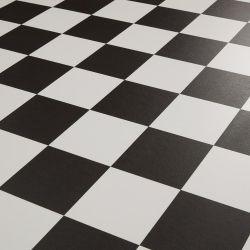 Black And White Checkerboard Tile Design Vinyl Flooring Sheet Dublin 599