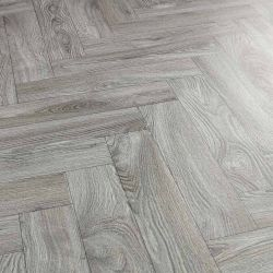 Grey Herringbone Design Vinyl Flooring Sheet Eltham Parquet Lino