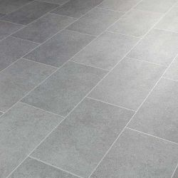 luminor grey tile effect vinyl flooring sheet in metallic silver design