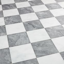 checkerboard marble tile effect vinyl flooring sheet grigio diamante