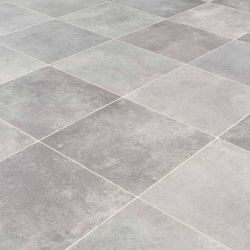 light grey square tile effect vinyl flooring sheet with felt backing for kitchens, bathrooms and hallways tudor mansions kirby stone