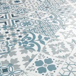 Lisboa Blue, White & Grey Portuguese Tile Effect Sheet Vinyl Flooring