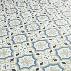 Green And Blue Spanish Tile Design Vinyl Flooring Sheet With Cushioned Backing