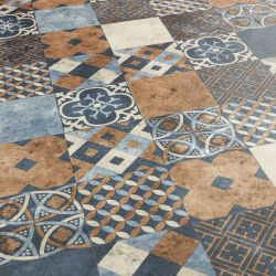 kitchen, bathroom and hallway patchwork flooring in blue, brown and grey pattern