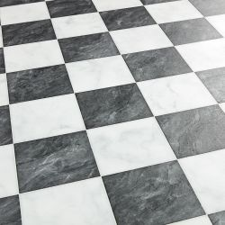 Black And White Diamond Checkerboard Vinyl Flooring Sheet Lino Nero Diamante
