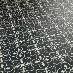 Distressed Black Tile Effect Vinyl Flooring Sheet With Victorian Design For Kitchens And Bathrooms