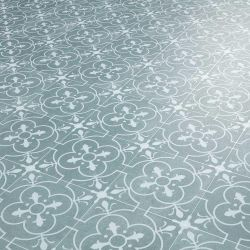 Grey patterned vinyl flooring in georgian tile effect lino style