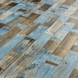Salvaged distressed blue wood sheet vinyl flooring