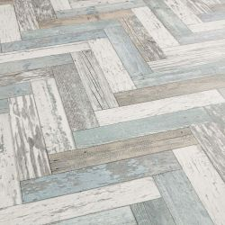 Blue, Green And White Herringbone Style Vinyl Flooring Pacific Painted Wood