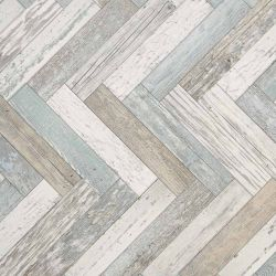Herringbone Cushioned Vinyl Flooring Sheet Pacific Painted Wood