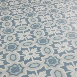 bathroom vinyl flooring blue green floral vintage country cottage