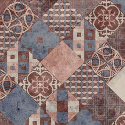 Patchwork Tile Effect Sheet Vinyl Flooring Rosa