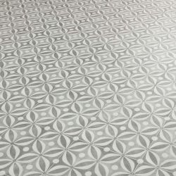 Quartz Grey Cement Tile Design Vinyl Flooring Sheet For Residential Homes