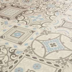 Moroccan Style Vinyl Flooring In Brown, Blue And Beige Tile Design Safi 04