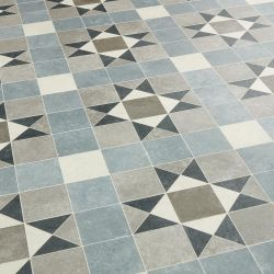 Blue And Grey Victorian Tile Effect Vinyl Flooring Sheet Lino With Felt Backing Shilling