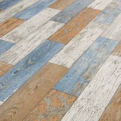 blue, brown and white distressed cushion vinyl flooring sheet lino