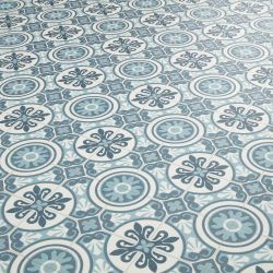 Blue Grey Moroccan patterned sheet vinyl flooring - Tangier 07