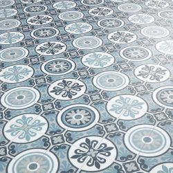 Blue Grey Moroccan Patterned Sheet Vinyl Flooring Roll for Kitchens Bathrooms and Living Spaces - Tangier 09