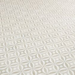 Neutral cement tile effect patterned vinyl flooring roll - Topaz Ciment
