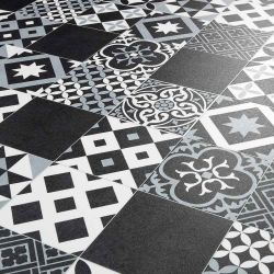 Black And White Mixed Tile Effect Vinyl Flooring Sheet For Kitchens And Bathrooms Vivre 90