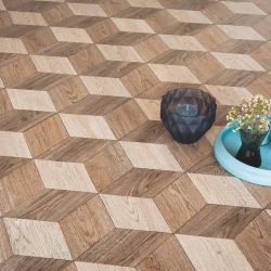 cubic oak 3d vinyl flooring sheet in wood effect design for hallways and bathrooms